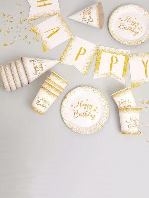 "Набор для праздника ""Happy Birthday - Gold"" (1 гирлянда, 6 колпаков, 6 тарелок , 6 стаканов)"